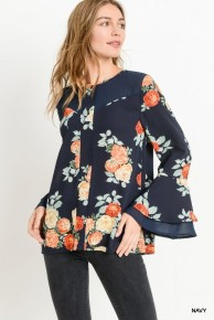 All About Change Floral Top With Sheer Detail In Navy- Sizes 4-10