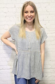 All To Myself Ladder Trimmed Mineral Washed Top In Multiple Colors- Sizes 4-10