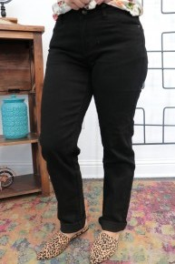 The Hazley Boyfriend Jeans In Black - Sizes 4-20