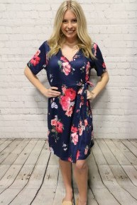 Most Perfect Floral Wrap Dress in Navy - Sizes 4-20