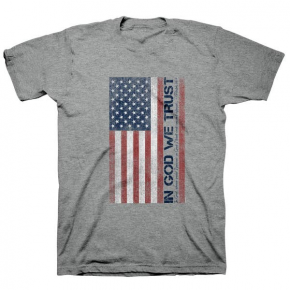 In God We Trust American Flag Gray Tee - Sizes 4-18