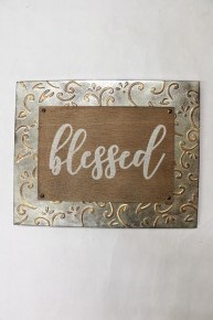 Blessed Embossed Tin And Wood Sign
