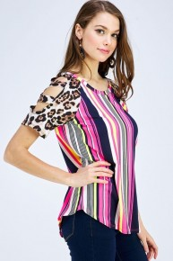 On the Prowl Striped Top with Accent Leopard Cutout Sleeve - Sizes 4-20
