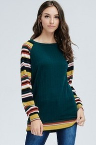 How Do I Tell You Striped Contrast Sleeve Top In Hunter Green - Sizes 4-12