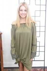 I'm Not Alone Off The Shoulder Dress In Olive Sizes 8-20