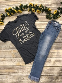 Faith Can Move Mountains Graphic Tee in Gray - Sizes 4-20