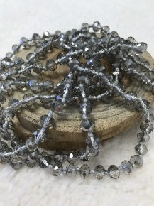 Point Of Perfection Beaded Necklace In Gray Diamond