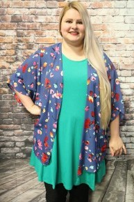 Its The Right Time Floral Kimono In Denim Blue- Sizes 12-20