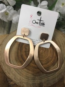 Movin' Along Rose Gold Circle Earrings
