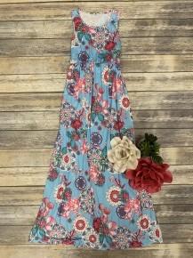 Circle & Floral Print Maxi Dress in Aqua - Sizes 4-20