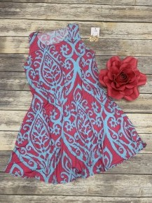 Borrowed Time Damask Print Tank Dress In Multiple Colors - Sizes 12-20