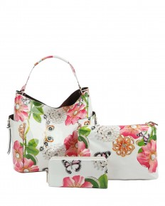 Time For Fun Floral And Gem 3 Piece Bag In Multiple Colors
