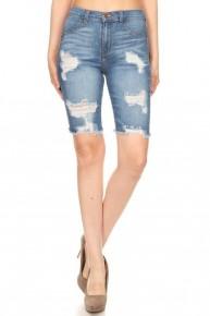 Got It Medium Denim Distressed Bermuda Shorts With Frayed Hem- Sizes 12-20