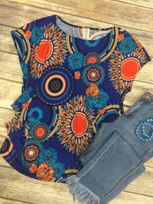 All Your Life Circle Print Top in Royal Blue- Sizes 12-20