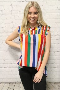 Colorful Stripes & Ruffles Sleeveless Top - Sizes 4-20