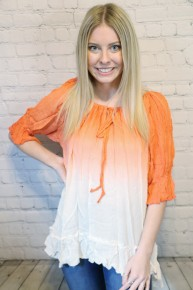 Simplicity is Best Orange and Ivory Ombre Quarter Sleeve Top- Sizes- 4-10