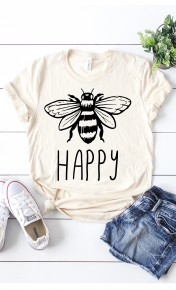 Be Happy Graphic Tee In Cream - Sizes 4-12