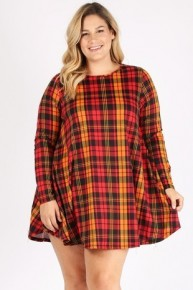 Without Warning Long Sleeve Plaid Dress In Red - Sizes 12-20