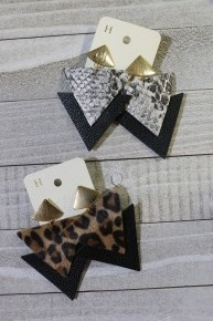 Talk Of The Town Triangular Earrings In Multiple Prints