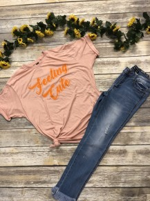 Feeling Cute Graphic Tee In Peach- Sizes 4-12