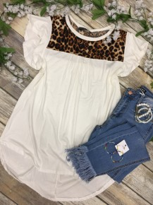 Where We Belong Leopard Accented Top in White - Sizes 4-12