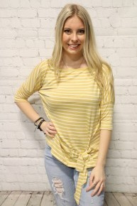 This Is My Time Mustard Striped Top With Tie Detail- Sizes 4-12