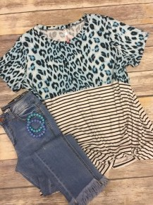 Always On Time  Leopard & Striped Top In Aqua- Sizes 12-20