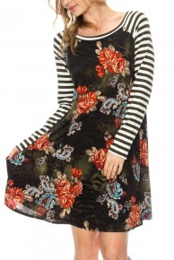One Thing Right Floral Dress With Contrast Striped Sleeves In Olive - Sizes 12-20