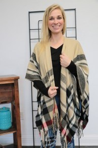 You Can Do It  Plaid Fringe Shawl In Cream - One Size