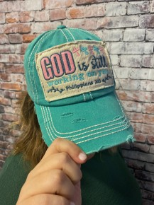 God Is Still Working On You Turquoise Distressed Ball Cap