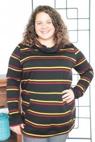 Make it Snappy Black Striped Cowl Neck with Kangaroo Pocket Sizes 12-20
