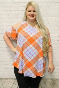 Time Away Plaid Cold Shoulder Top In Blue and Orange- Sizes 12-20