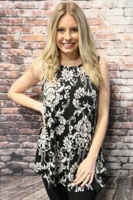 Find Me Here Damask Print Top In Black- Sizes 4-10