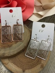 Rectangle Earrings with Floral Detail in Multiple Colors