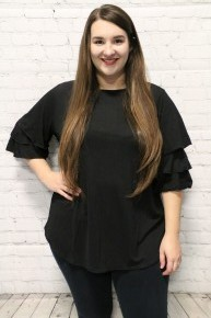Sweetest Moment Sheer Ruffle Tiered Sleeve Top in Multiple Colors-Sizes 12-20