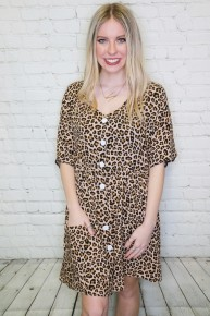 Call Me Yours Button Down Leopard Swing Dress Sizes 4-10