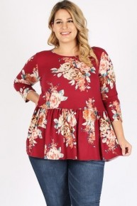 I'm Loved By Somebody Floral Babydoll Top - Multiple Colors - Sizes 12-20