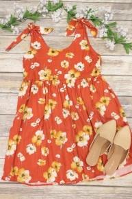 Raining Floral Tie Shoulder Dress In Amber- Sizes 4-10