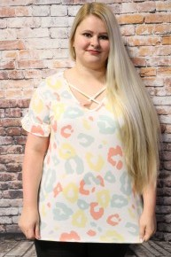 You've Got This Ivory Ruffled Top with Coral, Yellow and Mint Leopard Print - Sizes 4-10