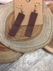 Brown Leather Rectangle  Earrings with Arrow in Heart