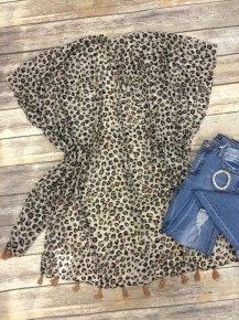 Everytime I Hear That Song Sheer Leopard Kimono With Tassels- One Size 4-20