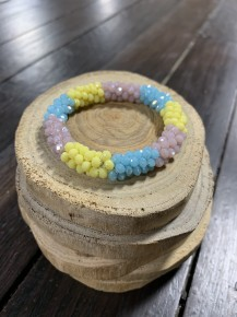 Perfect Stretch Turquoise & Yellow Sparkle Beaded Bracelet