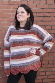 Catch Me Striped Multi Color Chenille Sweater with Scalloped Bottom Sizes 12-20