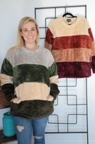 Take It To The Top Color Block Faux Fur Sweater - Sizes 4-20