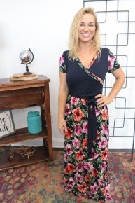 On My Vacation Floral Maxi Dress In Navy- Sizes 4-12