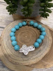 Patina Beaded Bracelet With Silver Cross