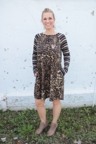 Come Sit Next to Me Leopard Dress with Striped Sleeves Sizes 6-20