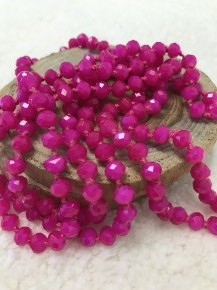 Point Of Perfection Beaded Necklace In Fuchsia