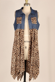 One Cool Kitten Denim and Leopard Vest - Sizes 12-20