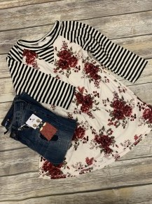 Today Is Your Day Stripes & Floral Raglan In Cream- Sizes 4-18
